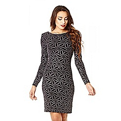 Quiz - Black Brillo Flower Long Sleeve Midi Dress