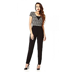 Quiz - Stone and black brillo cross over jumpsuit