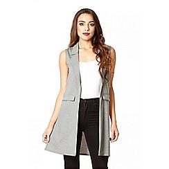 Quiz - Grey Sleeveless Ponte Lapel Waistcoat