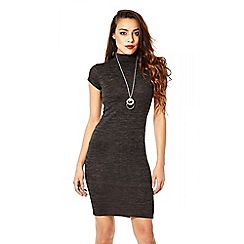 Quiz - Charcoal Turtle Neck Necklace Bodycon Dress