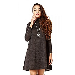 Quiz - Charcoal Turtle Neck Necklace Swing Dress