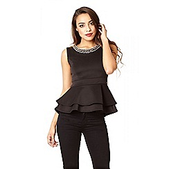 Quiz - Black Double Peplum Diamante Neck Top