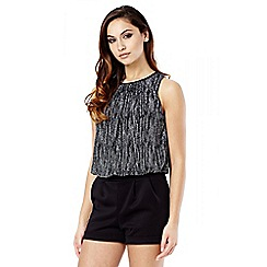 Quiz - Black And Silver Brillo Tie Back Playsuit