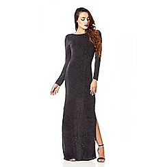 Quiz - Black And Silver Brillo Cowl Back Maxi Dress