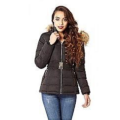 Quiz - Black Padded Faux Fur Hood Jacket