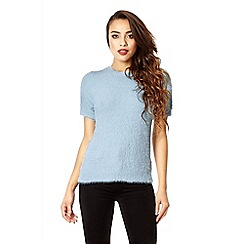 Quiz - Pale blue fluffy turtle neck jumper