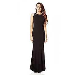 Quiz - Black lace sequin panel fishtail maxi dress