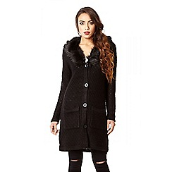 Quiz - Black knit button front faux fur collar cardigan