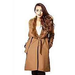 Quiz - Camel fur collar tie belt coat
