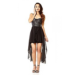 Quiz - Black and silver dipped hem chiffon dress