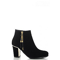 Quiz - Black Faux Suede Gold Heel Ankle Boots