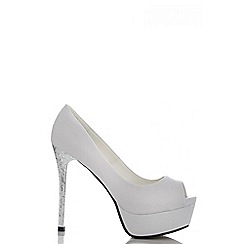Quiz - Silver shimmer platform peep toe shoes