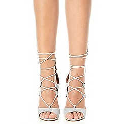 Quiz - Silver shimmer lace up sandals