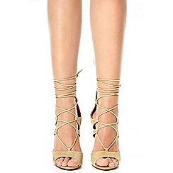 Quiz - Gold shimmer lace up sandals