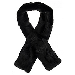 Quiz - Black Long Fur Scarf