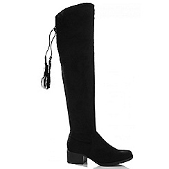 Quiz - Black Faux Suede Over The Knee Boots