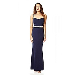Quiz - Navy and silver sweetheart maxi dress
