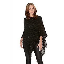 Quiz - Black Sequin Ribbed Poncho