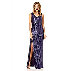 Quiz - Purple sequin zig zag split maxi dress