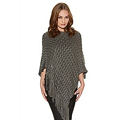 Quiz - Grey sequin ribbed poncho