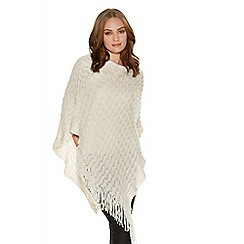 Quiz - Cream Sequin Ribbed Poncho