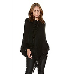 Quiz - Black Faux Fur Trim Poncho