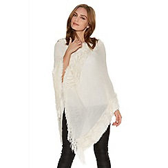 Quiz - Cream Faux Fur Trim Poncho