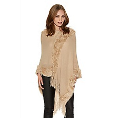 Quiz - Taupe Faux Fur Trim Poncho