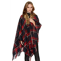 Quiz - Red And Navy Check Fur Collar Cape