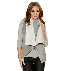 Quiz - Grey And Cream Faux Suede Gilet