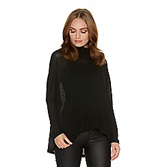 Quiz - Black Light Knit Cowl Neck Top