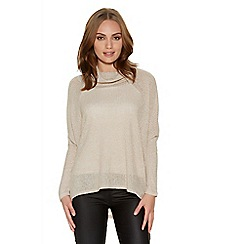 Quiz - Beige Light Knit Cowl Neck Top