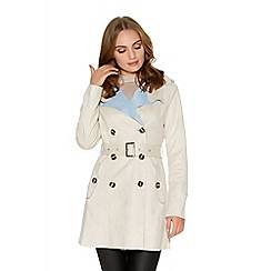 Quiz - Cream And Pale Blue Faux Suede Mac Jacket