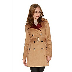 Quiz - Tan And Berry Faux Suede Mac Jacket