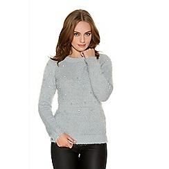Quiz - Grey Fuzzy Silver Diamante Front Jumper