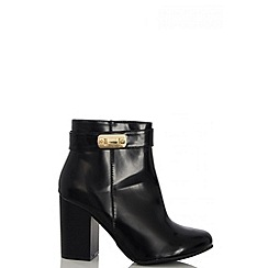 Quiz - Black PU Gold Trim Ankle Boots