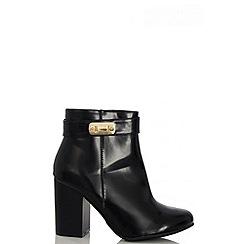 Quiz - Black PU Gold Trim Ankle Boots