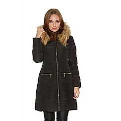 Quiz - Black Padded Long Length Faux Fur Hood Jacket