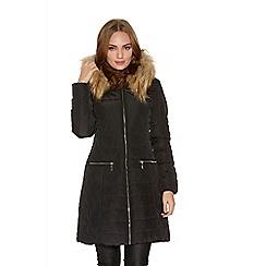 Quiz - Black Padded Long Length Faux Fur Hood Jacket