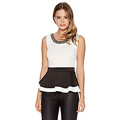 Quiz - Cream and black peplum diamante trim top