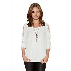 Quiz - Cream chiffon bubble lace necklacetop