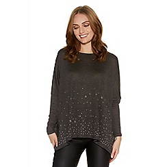 Quiz - Charcoal knit eyelet batwing top
