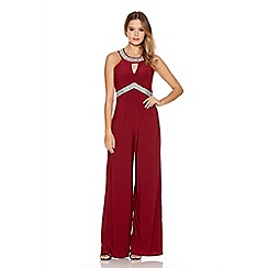 Quiz - Berry Diamante Palazzo Jumpsuit