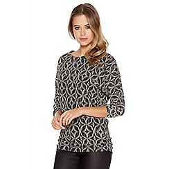 Quiz - Black And Silver Diamond Print Ruched Top