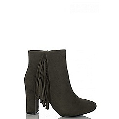 Quiz - Grey Tassel Block Heel Ankle Boots
