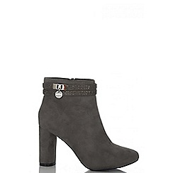 Quiz - Grey Faux Suede Ankle Strap Boots