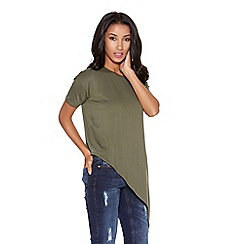Quiz - Khaki asymmetrical short sleeve top