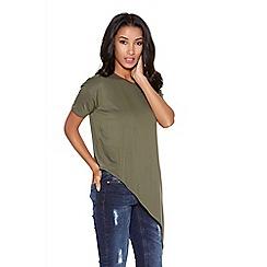 Quiz - Khaki asymmetrical short sleeve top