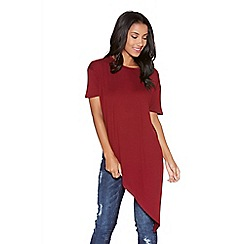 Quiz - Burgundy Asymmetrical Short Sleeve Top