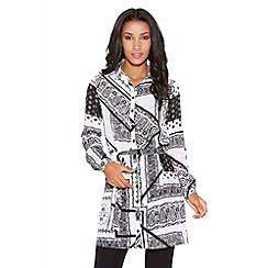 Quiz - Black And White Print Shirt Dress